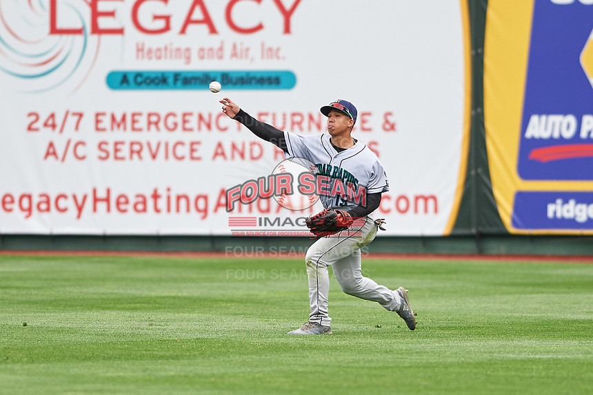 Cedar Rapids Kernels right fielder Gabriel Maciel (19) throw to the infield during a Midwest League game against the South Bend Cubs at Four Winds Field on May 8, 2019 in South Bend, Indiana. South Bend defeated Cedar Rapids 2-1. (Zachary Lucy/Four Seam Images)