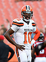 CLEVELAND, OH - AUGUST 18, 2016: Quarterback Robert Griffin III #10 of the Cleveland Browns stands on the field prior to a preseason game on August 18, 2016 against the Atlanta Falcons at FirstEnergy Stadium in Cleveland, Ohio. Atlanta won 24-13. (Photo by: 2016 Nick Cammett/Diamond Images) *** Local Caption *** Robert Griffin III