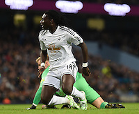 Picture by Howard Roe/AHPIX.com. Football, Barclays Premier League; <br /> Manchester City v Swansea City ;22/11/2014 KO 3.00 pm <br /> Etihad Stadium;<br /> copyright picture;Howard Roe;07973 739229<br /> Swansea's     Bafetimbi Gomis watchs the ball go past the post