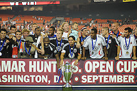 DC United posing after winning the Lamar Hunt US. Open Cup, DC United defeated The Charleston Battery 2-1, to win the  Lamar Hunt U.S. Open Cup at RFK Stadium in Washington DC, Saturday September 3, 2008.