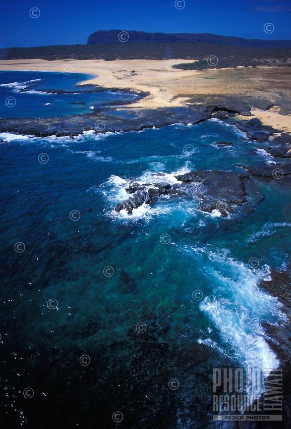 Niihau coastline from the air with pristine beach below