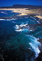 Niihau coastline from the air with pristine beach below
