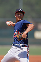 GCL Braves starting pitcher Freddy Tarnok (67) delivers a warmup pitch during a game against the GCL Pirates on July 26, 2017 at Pirate City in Bradenton, Florida.  GCL Braves defeated the GCL Pirates 12-5.  (Mike Janes/Four Seam Images)