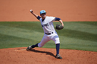 Charlotte Stone Crabs relief pitcher Simon Rosenblum-Larson (28) during a Florida State League game against the Dunedin Blue Jays on April 17, 2019 at Charlotte Sports Park in Port Charlotte, Florida.  Charlotte defeated Dunedin 4-3.  (Mike Janes/Four Seam Images)