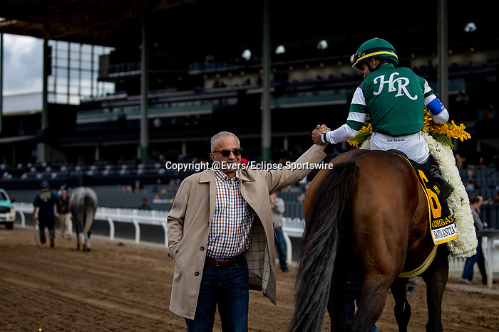 MAR 07: Joel Rosario celebrates with Kosta Hronis after winning the Santa Anita Handicap at Santa Anita Park in Arcadia, California on March 7, 2020. Evers/Eclipse Sportswire/CSM