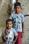 Two Roma brothers in Suto Orizari, Macedonia. The mostly Roma community, located just outside Skopje, is Europe's largest Roma settlement. .
