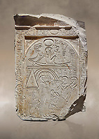 "Ancient Egyptian stele of sculptor Qen, limestone, New Kingdom, 19th Dynasty, (1279-1213 BC), Deir el-Medina, Old Fund cat 1635. Egyptian Museum, Turin. <br /> <br /> This stele belongs to the ""painter of outlines' and sculptor Qen who lived in the reign of Ramesses II. It depicrs a funeral celebration for him infront of funerary chapel with his sond Meryre and Huy, who are performing the ""ceremony of Opening of the Mouth"". His daughter Taqri is depicted grieving over the loss of her father. The chapel is summounted by a Pyramidion."