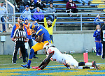 SIOUX FALLS, SD - NOVEMBER 7:  Brandon Andrews #3 from South Dakota State University crosses the goal line past Davontae Harris #10 from Illinois State en route to a touchdown in the second half Saturday in the final game at Coughlin Alumni Stadium in Brookings. (Photo by Dave Eggen/Inertia)