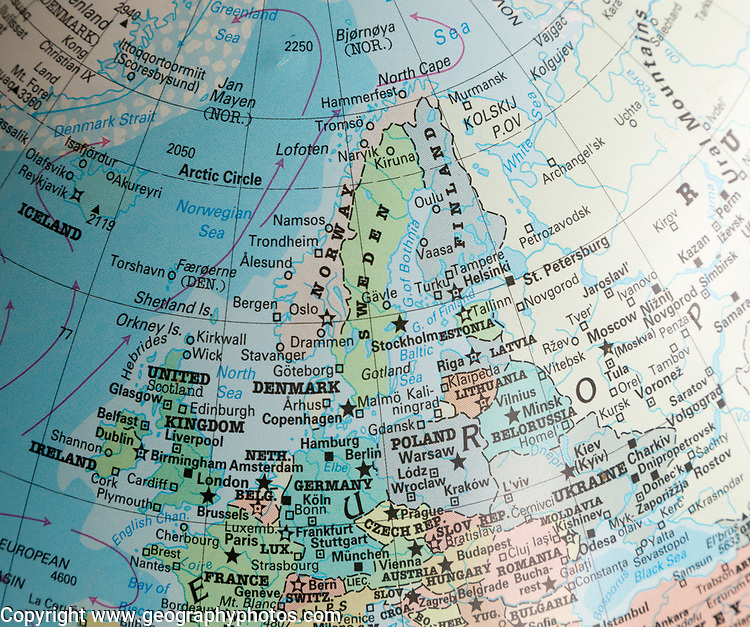 North west Europe map on a globe focused on Scandinavia