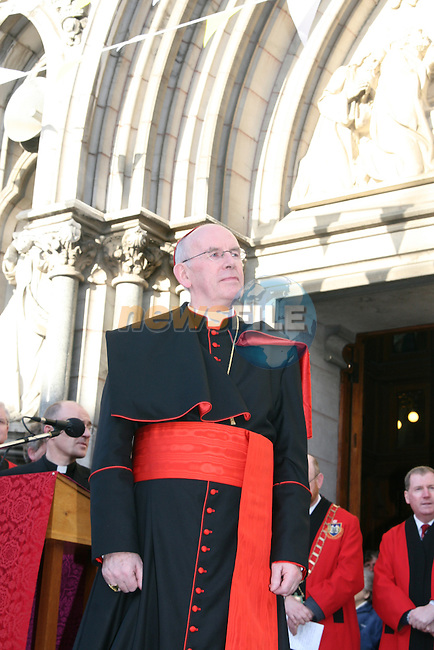 Cardinal Brady on the steps of St Peters on his first official visit after landing back in Ireland from Rome. Photo: Newsfile/Fran Caffrey.