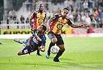 2018-08-27 / Voetbal / Seizoen 2018-2019 / KV Mechelen - Albert Quevy Mons / Abdoul Bah met Lucas Bijker (r. KV Mechelen)<br /> <br /> ,Foto: Mpics