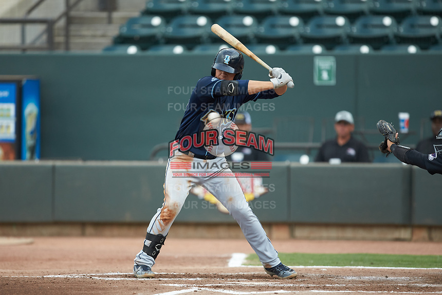 Nick Pratto (30) of the Wilmington Blue Rocks avoids an inside pitch while batting against the Winston-Salem Warthogs at BB&T Ballpark on July 17, 2019 in Winston-Salem, North Carolina. The Blue Rocks defeated the Warthogs 4-1. (Brian Westerholt/Four Seam Images)