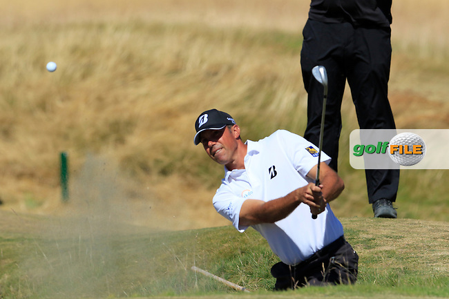Matt Kuchar (USA) chips from a bunker at the 6th green during Friday's Round 2 of the 2015 U.S. Open 115th National Championship held at Chambers Bay, Seattle, Washington, USA. 6/20/2015.<br /> Picture: Golffile | Eoin Clarke<br /> <br /> <br /> <br /> <br /> All photo usage must carry mandatory copyright credit (&copy; Golffile | Eoin Clarke)