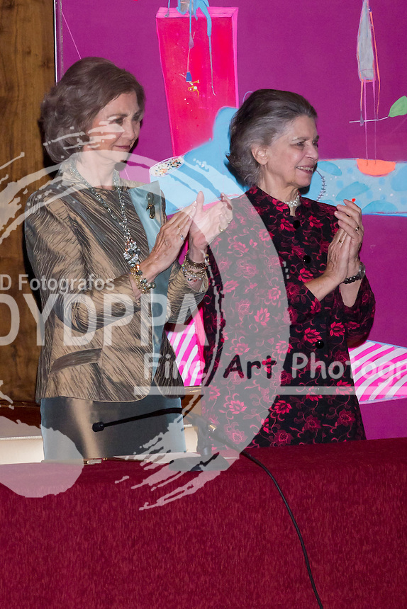 06.11.2012. National Auditorium of Music. Madrid. Spain The queen Sofia of Spain and her sister Irene of Greece preside delivery Prize XXVII BMW paint and the benefit concert world in harmony. In the picture: Queen Sofia of Spain and Princess Irene of Greece. (C) Ivan G. Naughty / DyD Fotografos