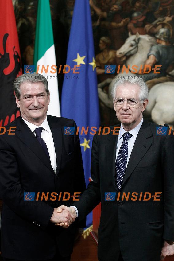 Sali Berisha e Mario Monti.Roma 07/05/2012 Incontro tra il Presidente del Consiglio Italiano, e il Primo Ministro della Repubblica di Albania.Foto Serena Cremaschi Insidefoto