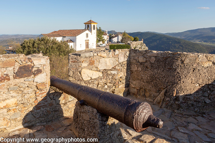 Cannon in historic castle medieval village of Marvão, Portalegre district, Alto Alentejo, Portugal, Southern Europe