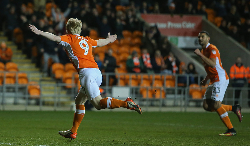 Blackpool's Mark Cullen runs off to celebrate after scoring the opening goal<br /> <br /> Photographer Alex Dodd/CameraSport<br /> <br /> The EFL Sky Bet League Two - Blackpool v Stevenage - Tuesday 14th March 2017 - Bloomfield Road - Blackpool<br /> <br /> World Copyright &copy; 2017 CameraSport. All rights reserved. 43 Linden Ave. Countesthorpe. Leicester. England. LE8 5PG - Tel: +44 (0) 116 277 4147 - admin@camerasport.com - www.camerasport.com