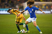 June 13th 2017, Melbourne Cricket Ground, Melbourne, Australia; International Football Friendly; Brazil versus Australia; David Luiz Marinho of Brazil with a strange challenge on  Mark Milligan of Australia