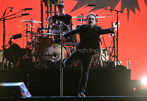 Musicians Larry Mullen junior (l) and Paul David Hewson (Bono), singer of the Irish band U2, on stage at the Olympic Stadium in Berlin, Germany, 12 July 2017. Photo: Britta Pedersen/dpa-Zentralbild/dpa /MediaPunch ***FOR USA ONLY***