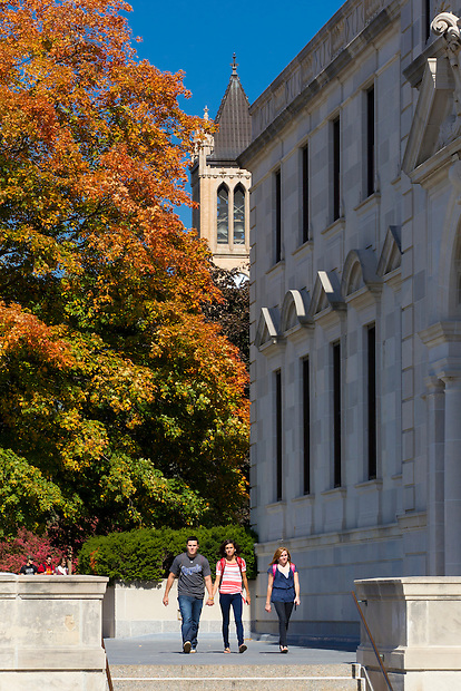 Students stroll outside the Memorial Union on the campus of Iowa State University in Ames, Iowa. (Christopher Gannon/Gannon Visuals)