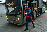 Jonjo Shelvey of Swansea City arrives for the Capital One Cup match between Hull City and Swansea City played at the Kingston Communications Stadium, Hull