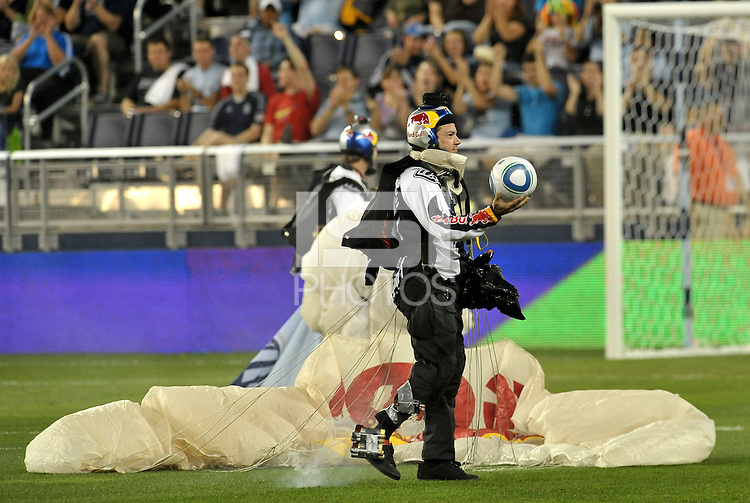 The game ball arrives by parachute... Sporting Kansas City defeated Columbus Crew 2-1 at LIVESTRONG Sporting Park, Kansas City, Kansas.