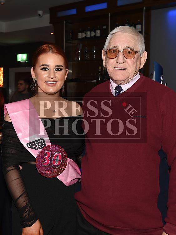 Karen Farrell celebrating her 30th birthday in Brú with grandparent Fred Rankin. Photo:Colin Bell/pressphotos.ie
