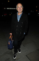 "Tony Robinson<br /> The ""Barking In Essex"" press night afterparty, The Crypt, St Martin-in-the-Fields Church, Charing Cross Rd., London, England.<br /> September 16th, 2013<br /> full length black coat jacket blue print shirt bag<br /> CAP/CAN<br /> ©Can Nguyen/Capital Pictures"