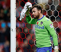 Andy Lonergan of Leeds United looks sheepish after his error in the goal during the Sky Bet Championship match between Brentford and Leeds United at Griffin Park, London, England on 4 November 2017. Photo by Carlton Myrie.