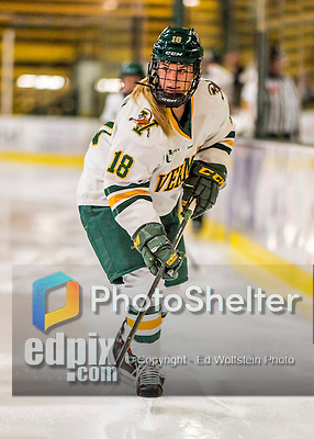 25 November 2016: University of Vermont Catamount Forward Cassidy Campeau, a Senior from Nepean, Ontario, in action against the Saint Cloud State Huskies at Gutterson Fieldhouse in Burlington, Vermont. The Lady Cats defeated the Huskies 5-1 to take the first game of the 2016 Windjammer Classic Tournament. Mandatory Credit: Ed Wolfstein Photo *** RAW (NEF) Image File Available ***