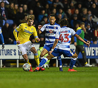 Leeds United's Patrick Bamford under pressure from  Reading<br /> <br /> Photographer David Horton/CameraSport<br /> <br /> The EFL Sky Bet Championship - Reading v Leeds United - Tuesday 12th March 2019 - Madejski Stadium - Reading<br /> <br /> World Copyright &copy; 2019 CameraSport. All rights reserved. 43 Linden Ave. Countesthorpe. Leicester. England. LE8 5PG - Tel: +44 (0) 116 277 4147 - admin@camerasport.com - www.camerasport.com