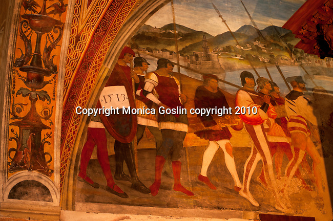 A painting from 1513 in the parish church of Santa Maria del Sasso in Morcote, a town on Lake Lugano, Switzerland. The parish church of Santa Maria del Sasso in Morcote also has frescos dating from the 16th and 17th centuries.