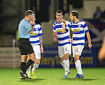Morton v St Johnstone....30.10.13   Scottish League Cup Quarter Final<br /> Stephen Stirling points an accusing finger at ref John McKendrick after St Johnstone's late winner<br /> Picture by Graeme Hart.<br /> Copyright Perthshire Picture Agency<br /> Tel: 01738 623350  Mobile: 07990 594431