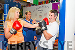 Toireasa Ferris,and Cathal Foley with trainer Sean O'Leary of  St. Margarets Boxing Club launch of the White Collar boxing fundraising night in aid of the Kerry cancer support group,which will be held on the 13th of August in the Dome
