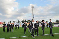 20190301 - LARNACA , CYPRUS : Italian team inspecting the picth before the game pictured during a women's soccer game between Hungary and Italy , on Friday 1 March 2019 at the GSZ Stadium in Larnaca , Cyprus . This is the second game in group B for both teams during the Cyprus Womens Cup 2019 , a prestigious women soccer tournament as a preparation on the FIFA Women's World Cup 2019 in France . PHOTO SPORTPIX.BE | STIJN AUDOOREN