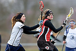 GER - Mainz, Germany, March 20: During the 1. Bundesliga Damen lacrosse match between Mainz Musketeers (white) and SC Frankfurt 1880 (red) on March 20, 2016 at Sportgelaende Dalheimer Weg in Mainz, Germany. Final score 7-12 (HT 3-5). (Photo by Dirk Markgraf / www.265-images.com) *** Local caption *** Nele Mordhorst #25 of SC Frankfurt 1880