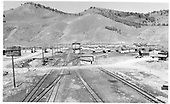 View from the D&amp;RGW coaling trestle at Sargent.  Good view of the station trackage.<br /> D&amp;RGW  Sargent, CO  Taken by Richardson, Robert W. - 1954