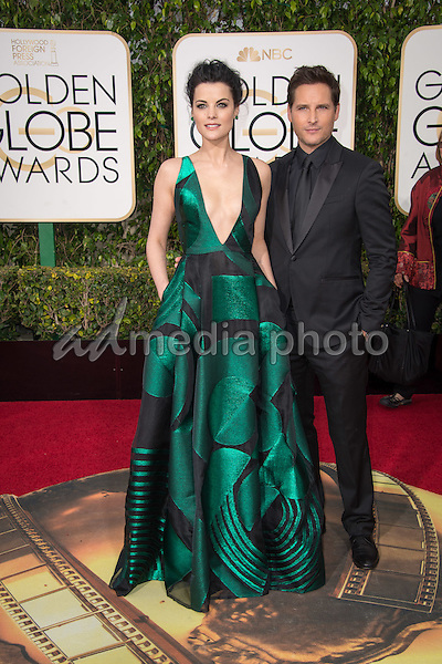 Jaimie Alexander and Peter Facinelli arrive at the 73rd Annual Golden Globe Awards at the Beverly Hilton in Beverly Hills, CA on Sunday, January 10, 2016. Photo Credit: HFPA/AdMedia