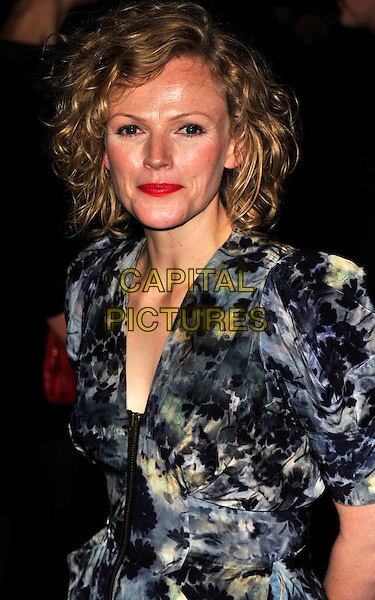 "MAXINE PEAKE.The UK Premiere of ""The Imaginarium Of Doctor Parnassus"" at the Empire Leicester Square, London, England..October 6th 2009.half length red lipstick make-up blue grey gray print floral .CAP/CJ.©Chris Joseph/Capital Pictures."