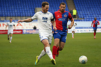 Ritchie Sutton of Tranmere Rovers and Michael Cheek of Dagenham during Tranmere Rovers vs Dagenham & Redbridge, Vanarama National League Football at Prenton Park on 11th November 2017