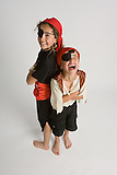 Gabriella (9) and Dominic (7) Mandarino dressed up as part of Stanford's Pirate Camp.