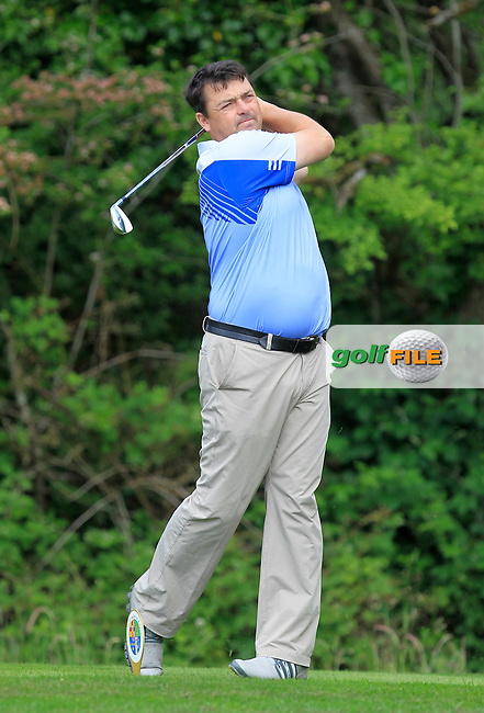 Paul Flynn (Tramore) on the 2nd tee during Round 1 of the Irish Mid-Amateur Open Championship at New Forest on Saturday 20th June 2015.<br /> Picture:  Thos Caffrey / www.golffile.ie