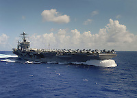 080404-N-7981E-692 PACIFIC OCEAN (April 4, 2008)- Nimitz-class aircraft carrier USS Abraham Lincoln (CVN 72) underway at high speed in the Western Pacific Ocean. Lincoln and embarked Carrier Air Wing (CVW) Two are underway on a scheduled seven-month deployment to the 5th Fleet area of responsibility.  U.S. Navy photo by Mass Communication Specialist 2nd Class James R. Evans (RELEASED)