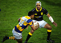 Losi Filipo marks Monty Ioane (14) during the Mitre 10 Cup rugby union match between Bay of Plenty and Wellington at Rotorua International Stadium in Rotorua, New Zealand on Thursday, 31 August 2017. Photo: Dave Lintott / lintottphoto.co.nz