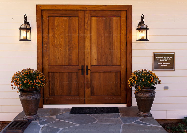 The beautiful wood panel front door and porch at Delaplane Cellars.