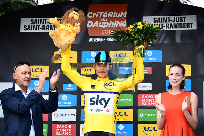 Race leader Michal Kwiatkwoski (POL) retains the Maillot Jeune on the podium at the end of Stage 1 of the 2018 Criterium du Dauphine 2018 running 179km from Valence to Saint-Just-Saint-Rambert, France. 4th June 2018.<br /> Picture: ASO/Alex Broadway | Cyclefile<br /> <br /> <br /> All photos usage must carry mandatory copyright credit (© Cyclefile | ASO/Alex Broadway)