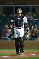 Salt River Rafters catcher Oscar Hernandez (25) during an Arizona Fall League game against the Scottsdale Scorpions on October 13, 2015 at Salt River Fields at Talking Stick in Scottsdale, Arizona.  Salt River defeated Scottsdale 5-3.  (Mike Janes/Four Seam Images)