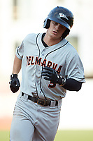 Cadyn Grenier (3) of the Delmarva Shorebirds rounds the bases after hitting his first professional home run which tied the game in the top of the ninth inning against the Greensboro Grasshoppers at First National Bank Field on August 26, 2018 in Greensboro, North Carolina. The Shorebirds defeated the Grasshoppers 6-4. (Brian Westerholt/Four Seam Images)