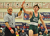 Bailey O'Brien of Locust Valley, right, acknowledges the crowd after besting Cold Spring Harbor's Zak Hodgson at 170 pounds in the Nassau County Division II varsity wrestling finals at Cold Spring Harbor High School on Saturday, Feb. 10, 2018. O'Brien's win made him a three-time county champion.