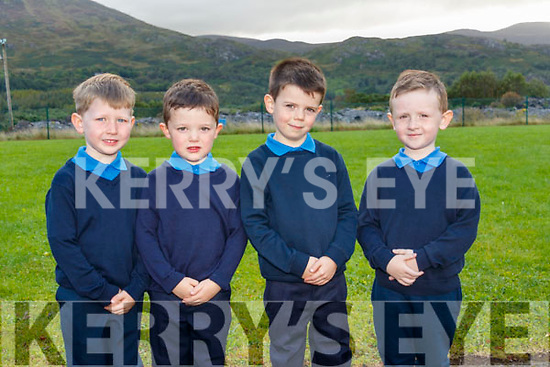 Children attending their first day at school at Tulloha NS (Bonane) L-R: Eoghan Reidy, Denny O'Sullivan, Conor O'Shea and Micheál Lucey